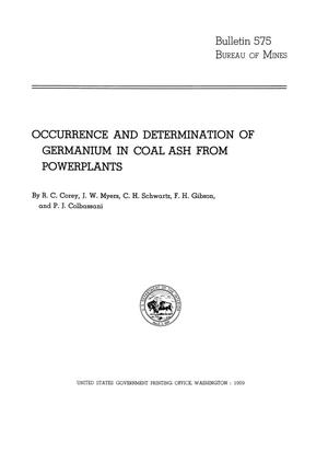 Primary view of object titled 'Occurrence and Determination of Germanium in Coal Ash from Powerplants'.