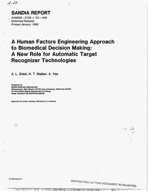 Primary view of object titled 'A human factors engineering approach to biomedical decision making: A new role for automatic target recognizer technologies'.