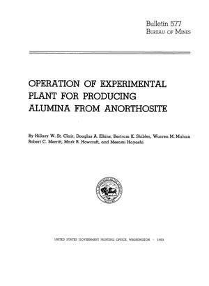 Primary view of object titled 'Operation of Experimental Plant for Producing Alumina from Anorthosite'.