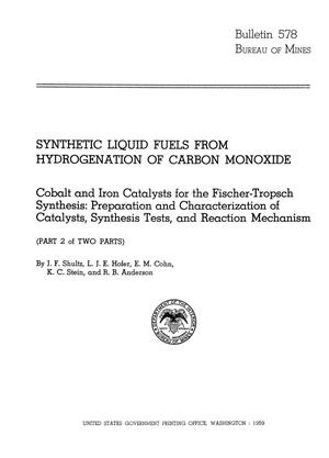 Primary view of object titled 'Synthetic Liquid Fuels from Hydrogenation of Carbon Monoxide: Cobalt and Iron Catalysts for the Fischer-Tropsch Synthesis: Preparation and Characterization of Catalysts, Synthesis Tests, and Reaction Mechanism (Part 2 of Two Parts)'.