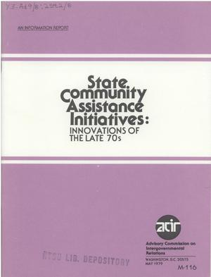 Primary view of object titled 'State community assistance initiatives : innovations of the late 70's'.