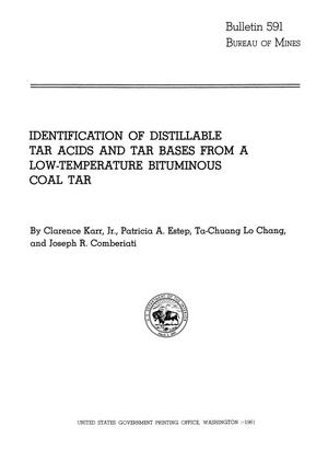 Primary view of object titled 'Identification of Distillable Tar Acids and Tar Bases from a Low-Temperature Bituminous Coal Tar'.