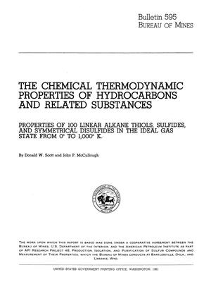 Primary view of object titled 'The Chemical Thermodynamic Properties of Hydrocarbons and Related Substances: Properties of 100 Linear Alkane Thiols, Sulfides, and Symmetrical Disulfides in the Ideal Gas State from 0° to 1,000° K'.