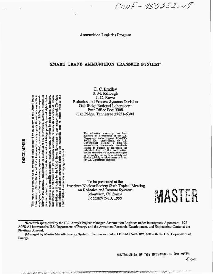Smart crane ammunition transfer system - Digital Library