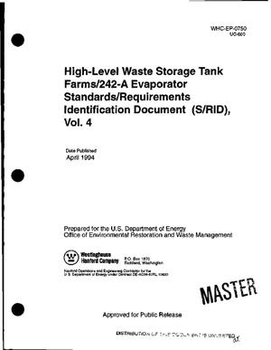 Primary view of High-level waste storage tank farms/242-A evaporator Standards/Requirements Identification Document (S/RID), Volume 4