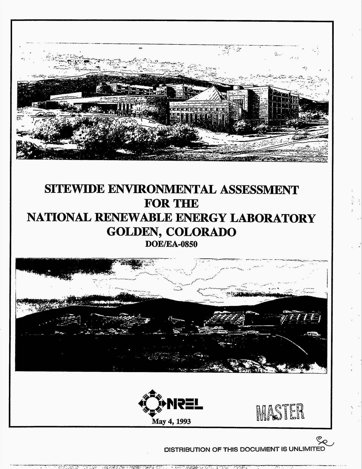 Sitewide Environmental Assessment for the National Renewable Energy Laboratory, Golden, Colorado                                                                                                      [Sequence #]: 1 of 173