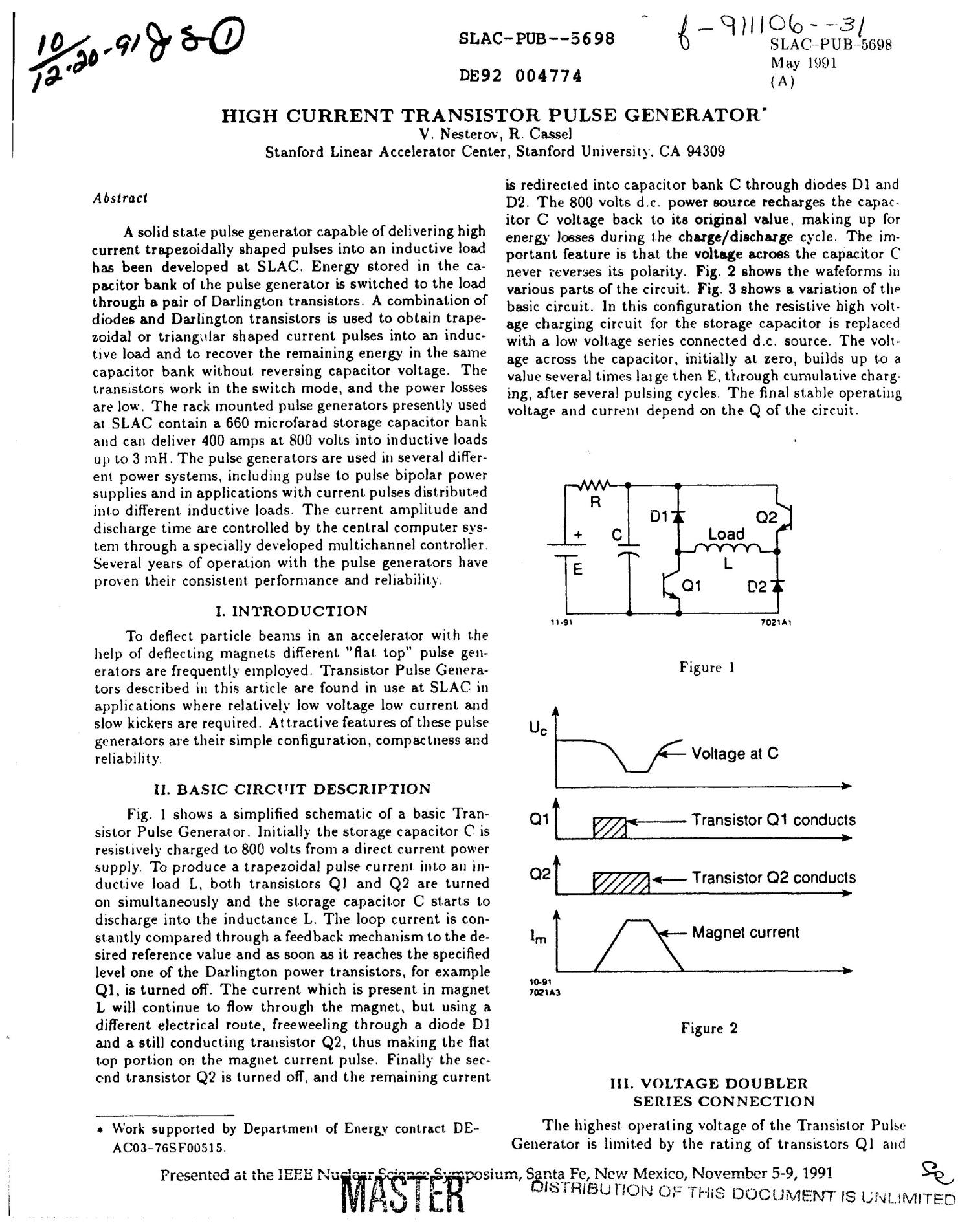 High current transistor pulse generator - Digital Library