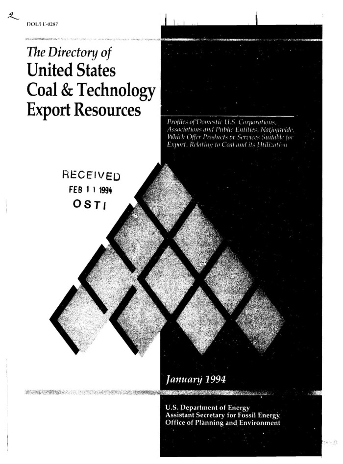 The directory of United States coal & technology export