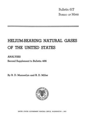 Primary view of object titled 'Helium-Bearing Natural Gases of the United States: Analyses, Second Supplement to Bulletin 486'.