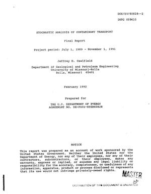 Primary view of object titled 'Stochastic analysis of contaminant transport. Final report, July 1, 1989--November 1, 1991'.
