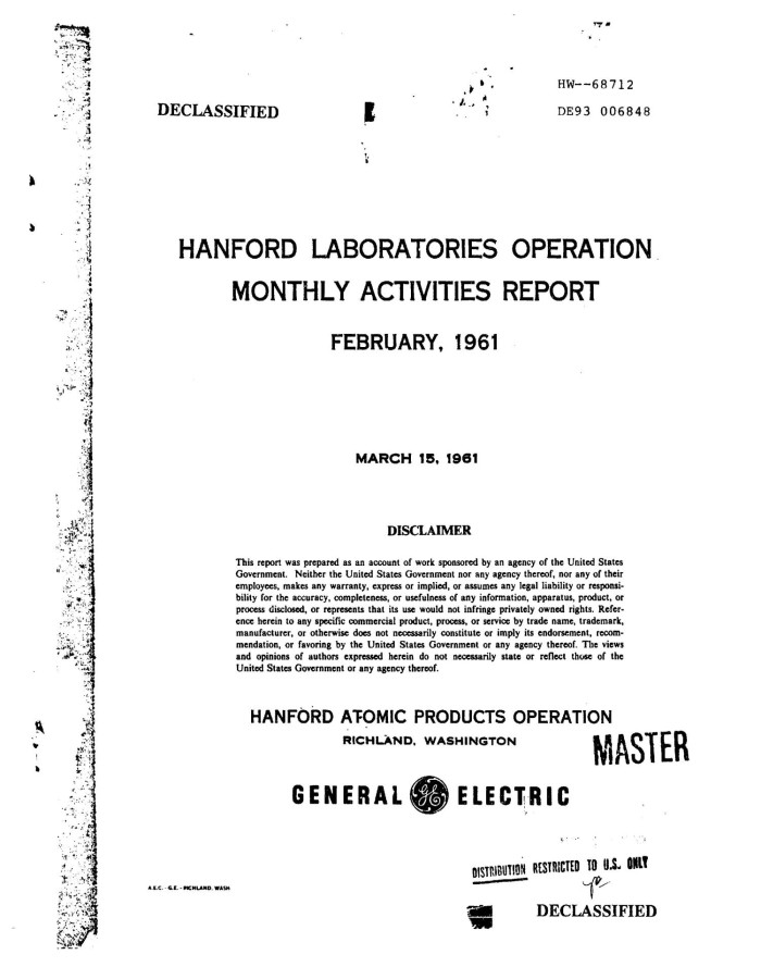 Hanford Laboratories Operation Monthly Activities Report