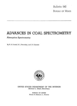 Primary view of object titled 'Advances in Coal Spectrometry: Absorption Spectrometry'.