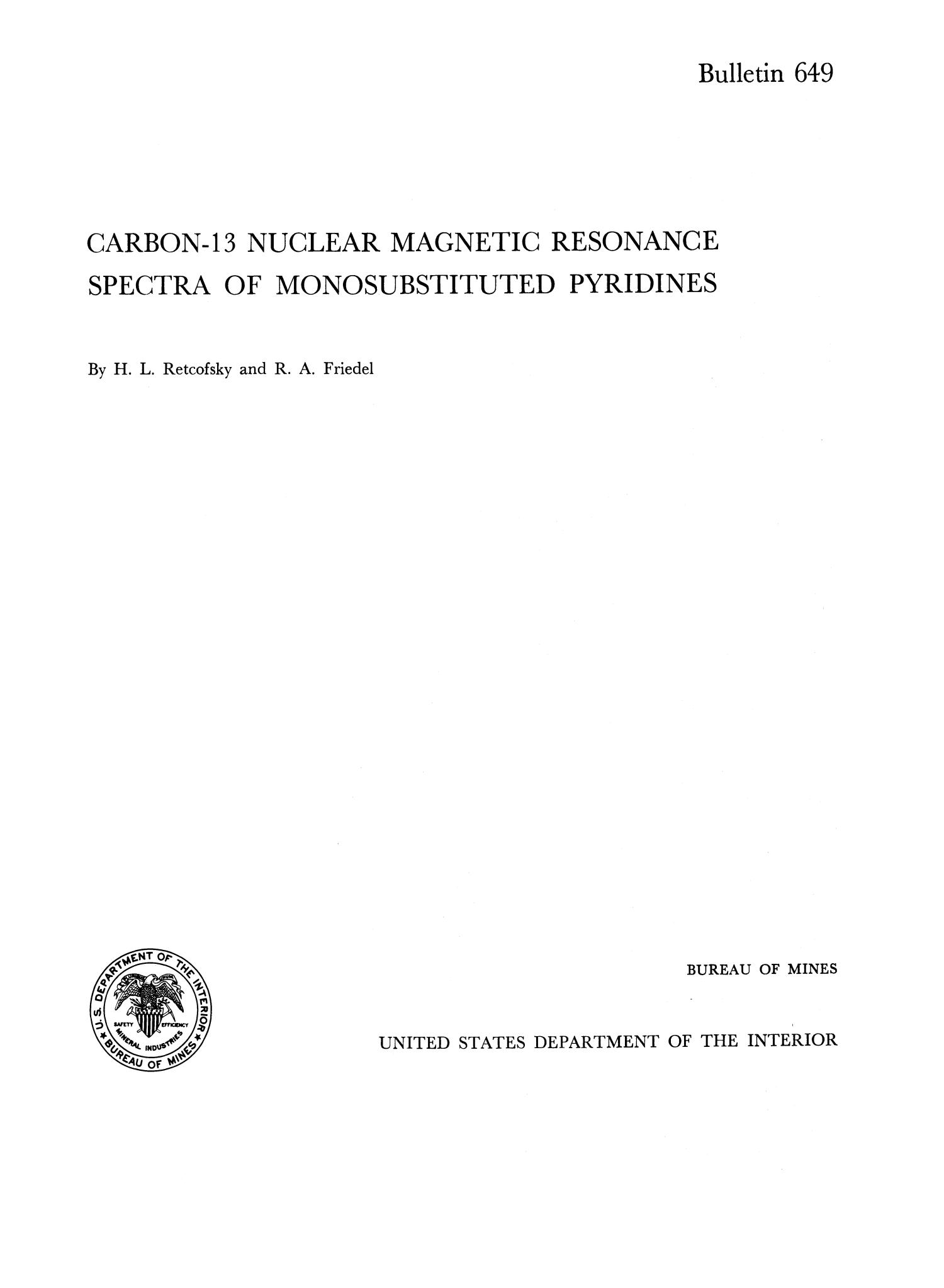 Carbon-13 Nuclear Magnetic Resonance Spectra of Monosubstituted Pyridines                                                                                                      I