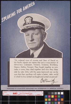 Primary view of object titled 'Speaking for America ... C. W. Nimitz.'.
