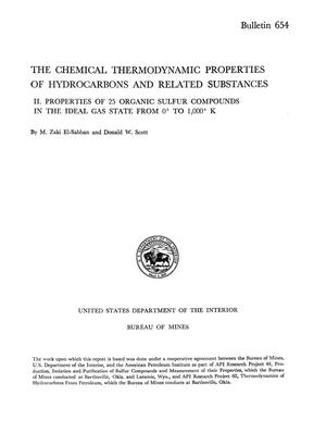 Primary view of object titled 'The Chemical Thermodynamic Properties of Hydrocarbons and Related Substances: [Part] 2. Properties of 25 Organic Sulfur Compounds in the Ideal Gas State from O° to 1,000° K'.