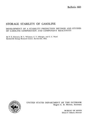 Primary view of object titled 'Storage Stability of Gasoline: Development of a Stability Prediction Method and Studies of Gasoline Composition and Component Reactivity'.