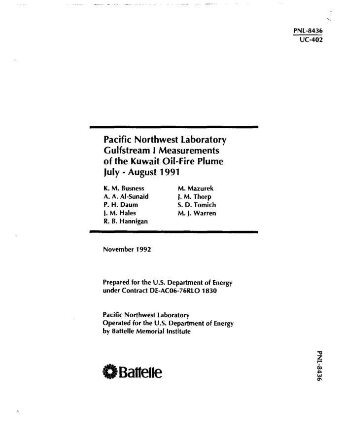 Pacific Northwest Laboratory Gulfstream I measurements of
