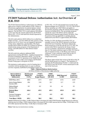 Primary view of object titled 'Fiscal Year 2019 National Defense Authorization Act: An Overview of H.R. 5515'.