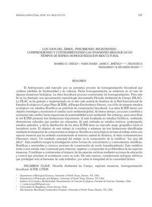 Los Ojos Del Árbol: Percibiendo, Registrando, Comprendiendo Y Contrarrestando Las Invasiones Biológicas en Tiempos De Rápida Homogeneizacion Biocultural