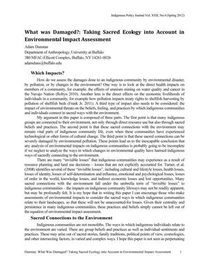 What Was Damaged?: Taking Sacred Ecology into Account in Environmental Impact Assessment