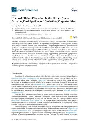 Primary view of object titled 'Unequal Higher Education in the United States: Growing Participation and Shrinking Opportunities'.