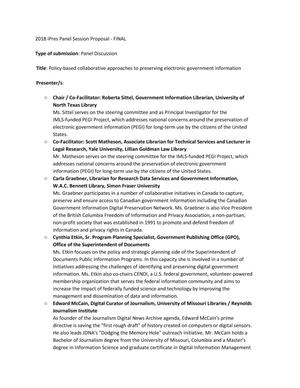 Panel Proposal: Policy-based collaborative approaches to preserving electronic government information