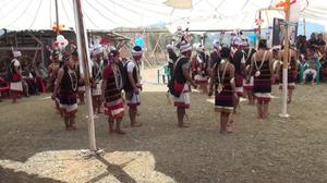 Primary view of Lamkang traditonal dance performed at the first death anniversary of late Behon Shilshi at Deerignkhu