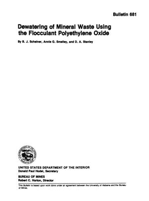 Primary view of object titled 'Dewatering of Mineral Waste Using the Flocculant Polyethylene Oxide'.