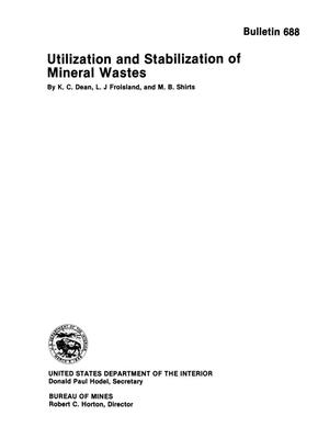 Utilization and Stabilization of Mineral Wastes
