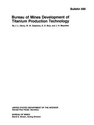 Primary view of object titled 'Bureau of Mines Development of Titanium Production Technology'.