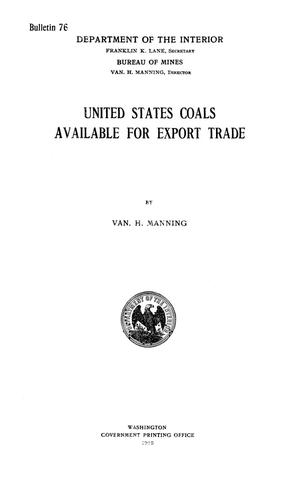 Primary view of object titled 'United States Coals Available for Export Trade'.