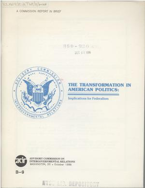 Primary view of object titled 'In brief : The transformation in American politics : implications for federalism'.