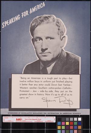 Primary view of object titled 'Speaking for America ... Spencer Tracy.'.