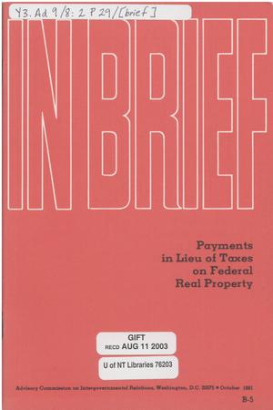 Primary view of object titled 'In Brief : Payments in lieu of taxes on federal real property'.