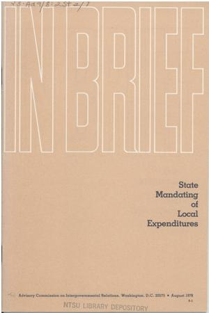 Primary view of object titled 'In brief : State mandating of local expenditures'.