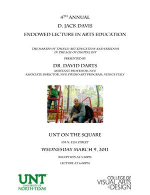 Primary view of object titled '[Poster for a Lecture by Dr. David Darts]'.