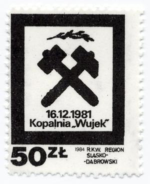 "Primary view of object titled '16.12.1981 Kopalnia ""Wujek"" 50 zł 1984 R.K.W. Region Slasko-Dabrowski'."