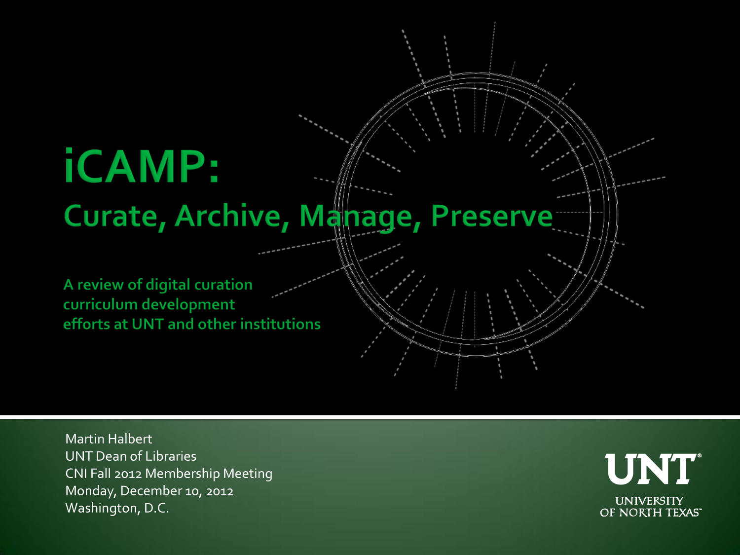 iCAMP: Curate, Archive, Manage, Preserve                                                                                                      [Sequence #]: 1 of 27
