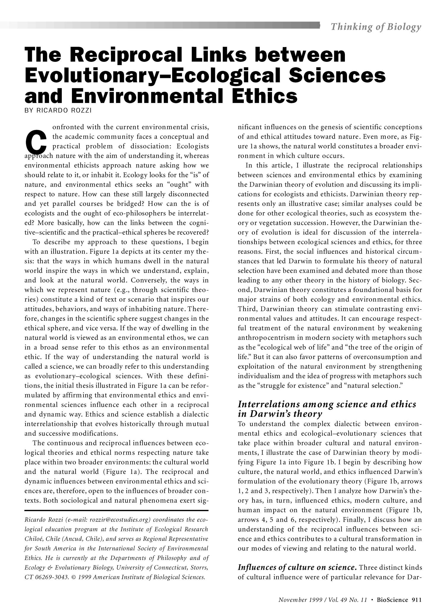 The Reciprocal Links between Evolutionary-Ecological Sciences and Environmental Ethics                                                                                                      911
