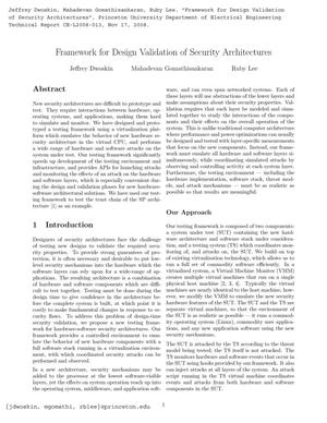 Primary view of object titled 'Framework for Design Validation of Security Architectures'.