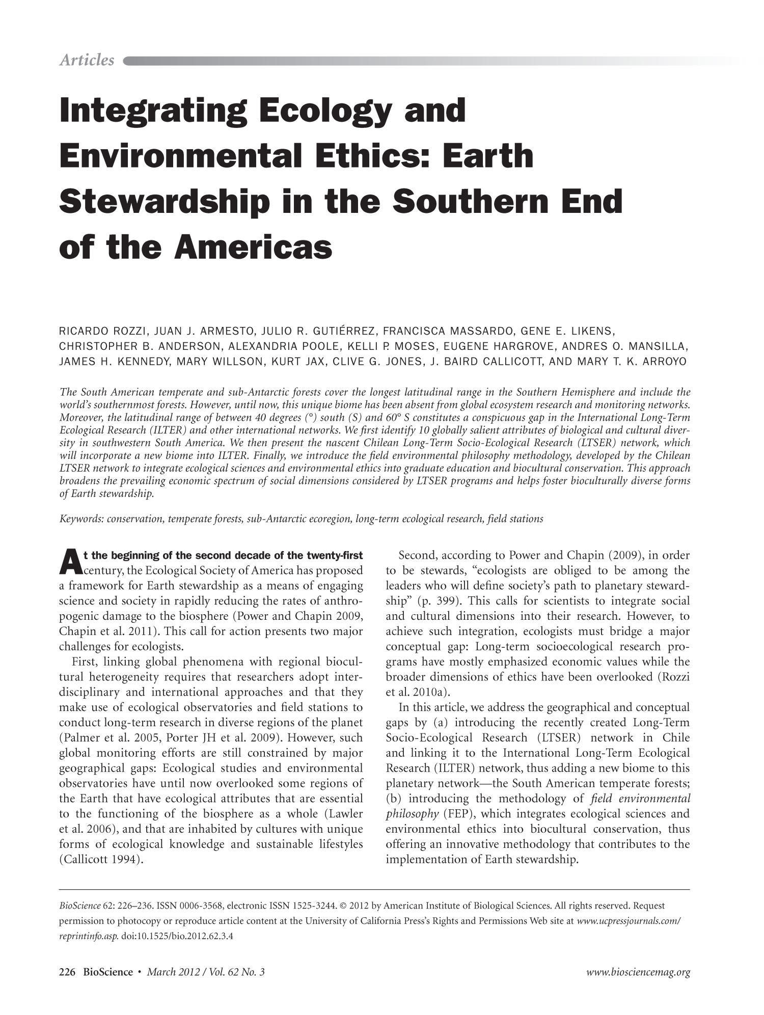 Integrating Ecology and Environmental Ethics: Earth Stewardship in the Southern End of the Americas                                                                                                      226