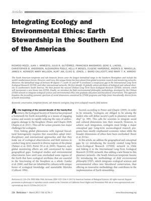 Primary view of object titled 'Integrating Ecology and Environmental Ethics: Earth Stewardship in the Southern End of the Americas'.