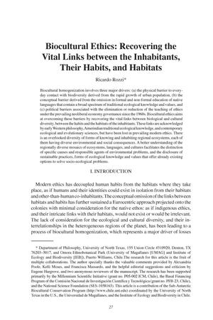 Biocultural Ethics: Recovering the Vital Links between the Inhabitants, Their Habits, and Habitats
