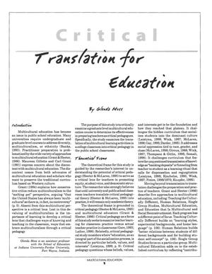 Critical Pedagogy: Translation for Education that is Multicultural