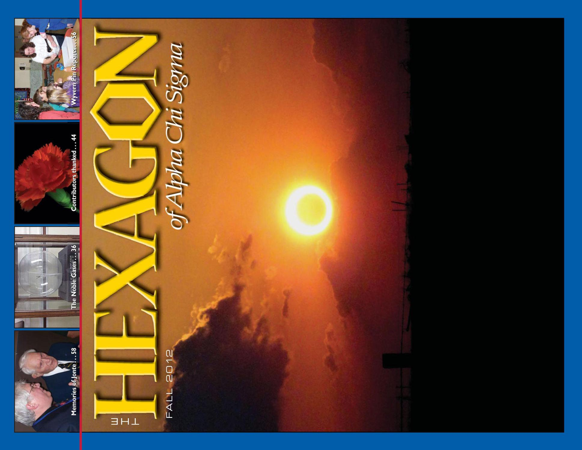 The Hexagon, Volume 103, Number 3, Fall 2012                                                                                                      33