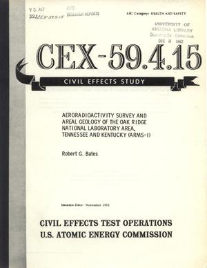 Aeroradioactivity Survey and Areal Geology of the Oak Ridge National Laboratory Area, Tennessee and Kentucky (ARMS-I)