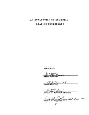 An Evaluation of Remedial Reading Procedures : UNT Digital Library