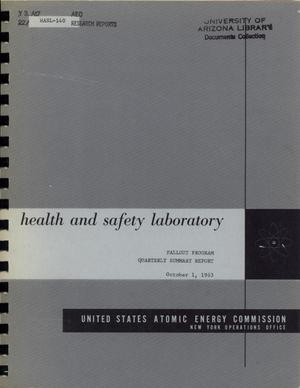 Primary view of object titled 'Health and Safety Laboratory Fallout Program Quarterly Summary Report: June 1, 1963 - September 1, 1963'.