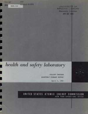 Primary view of object titled 'Health and Safety Laboratory Fallout Program Quarterly Summary Report: December 1, 1963 - March 1, 1964'.