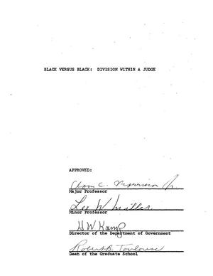 Primary view of object titled 'Black Versus Black: Division Within a Judge'.